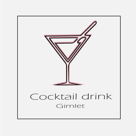 Cocktail drink vector icon. Party gimlet simple isolated outline illustration.