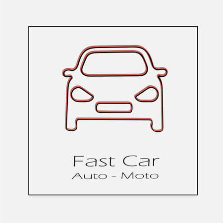 Car front vector icon. Simple isolated outline illustration.
