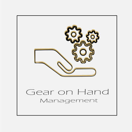 Gear on hand vector icon. Simple isolated gears outline illustration. 일러스트