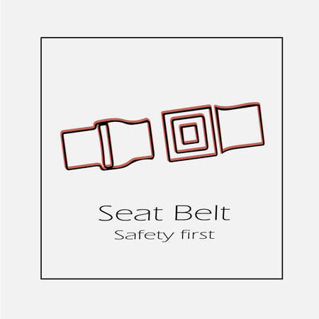 Seat belt vector icon. Simple isolated safety first symbol outline illustration.