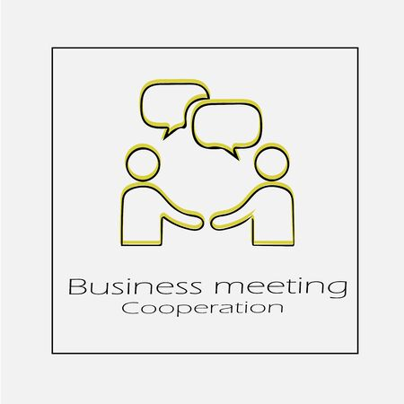 Businessman meeting with bubble and handshake. Simple isolated vector icon eps 10. Business agreement symbol sign. Illusztráció