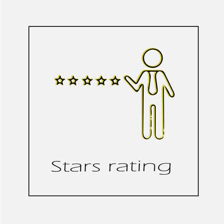 5 star rating vector icon. Five stars illustration.