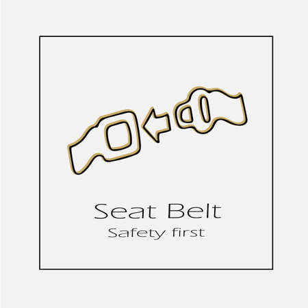 Seat belt safety first concept vector icon . Hand drawn illustration. Illustration