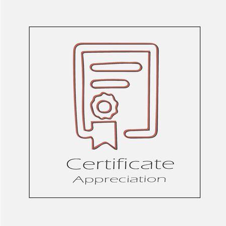 Certificate illustration. Hand drawn diploma flat vector icon. Illustration