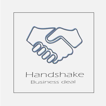 Handshake illustration. Hands shaking business deal hand drawn flat vector icon.