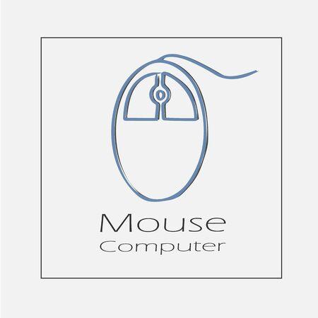 Computer mouse illustration. Hand drawn flat vector icon. Illustration