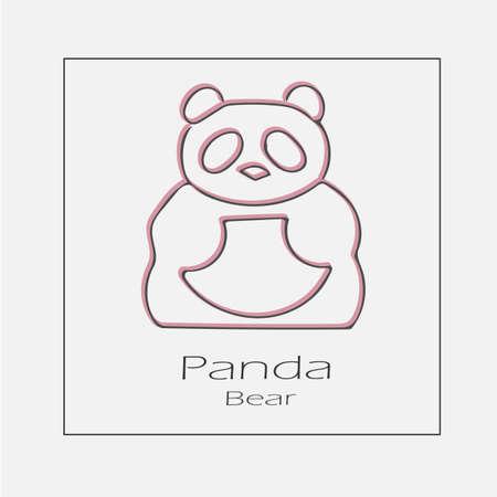 Panda illustration. China symbol hand drawn flat vector icon.