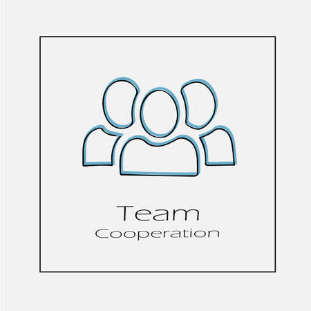Team concept illustration. Three people business hand drawn flat vector icon.