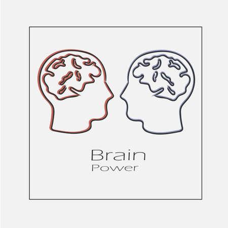 Brain power concept illustration. Hand drawn flat vector icon. Illustration