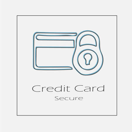 Credit card secure concept illustration. Hand drawn bank security flat vector icon.