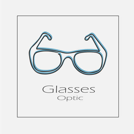 Glasses optic concept illustration. Hand drawn flat vector icon.