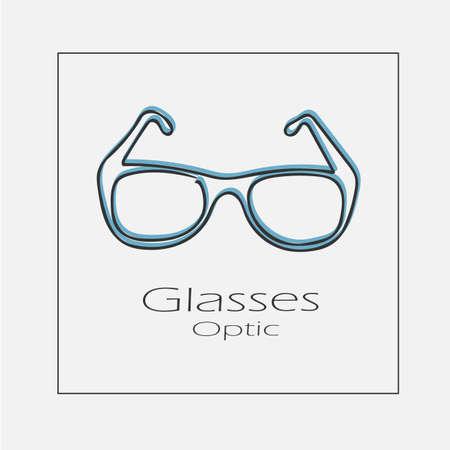 Glasses optic concept illustration. Hand drawn flat vector icon.