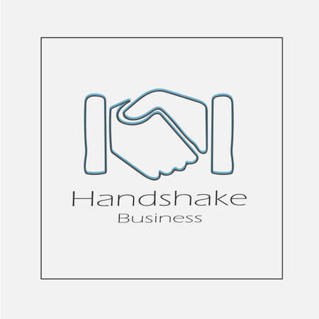 Handshake concept illustration. Hand drawn hands shaking flat vector icon.
