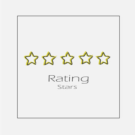 Stars rating concept illustration. Hand drawn 5 star hotel flat vector icon. Vectores