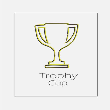 Trophy cup concept illustration. Hand drawn flat vector icon.