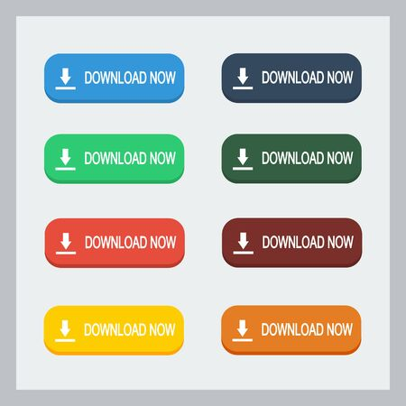 Colorful download now button with pointing hand set. Flat illustration. Download button collection.