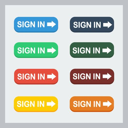 Colorful sign in button with pointing hand set. Flat illustration. Sign in button collection.