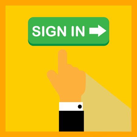 Sign in button with pointing hand on color background. Flat illustration.