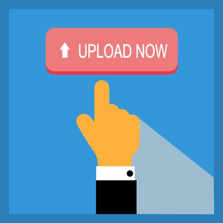 Upload button with pointing hand on color background. Flat illustration.