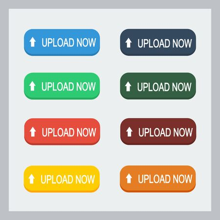 Colorful upload now button with pointing hand set. Flat illustration. Upload button collection.