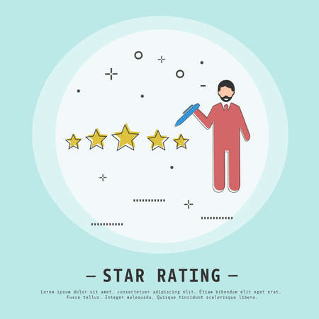 Star rating vector illustration. Modern flat thin line icon design style. Star rating success concept. Five stars icon.