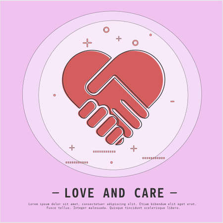 Handshake forming a heart. Hands shaking. Love and care concept. Modern line design style.