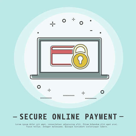 secure online payment vector illustration. Modern flat thin line icon design. Credit card security concept. credit card and lock icons. Illustration