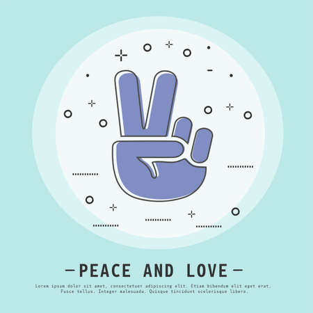 peace and love vector illustration. Modern flat thin line icon design. V gesture victory. Hand showing V sign icon.