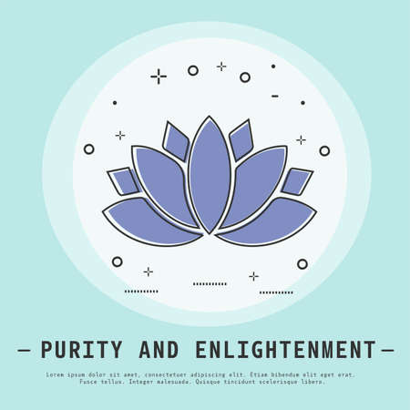 Lotus flower vector illustration. Modern flat thin line icon design. Yoga and meditation. Purity and enlightenment