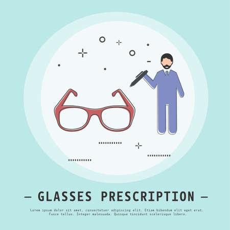 Glasses prescription vector illustration. Modern flat thin line icon design. Optic store concept. Glasses icon.