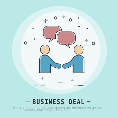 Business deal vector illustration. Modern flat thin line icon design. Business success. Two businessman and bubbles sign icon