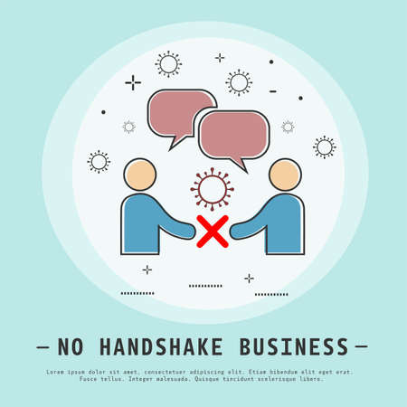 No handshake business deal vector illustration. Modern flat thin line icon design. Stop coronavirus concept. Two businessman and bubbles sign icon.