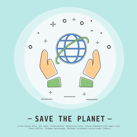 Save the planet vector illustration. Modern flat thin line icon design. Earth or world day concept. Hands holding planet.