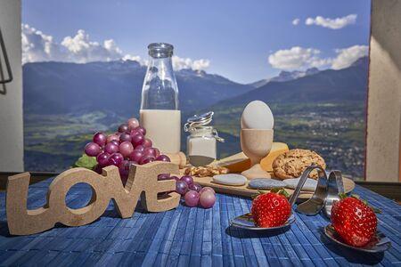 Energy Breakfast at sunny day in Switzerland Alps