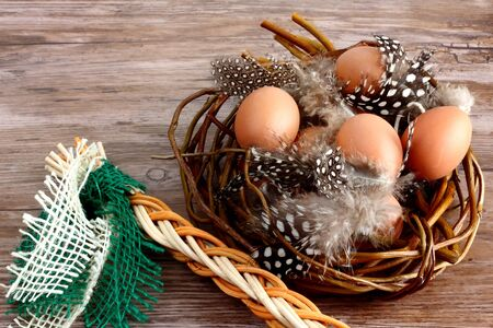 Easter eggs with feathers on wooden table - space for text Standard-Bild
