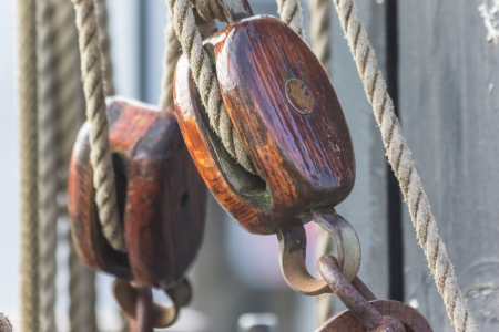 old boat: Pulley of an old ship in the center of Groningen, the Netherlands  Stock Photo