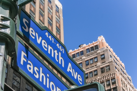seventh: New York street sign on seventh avenue, Fashion Ave