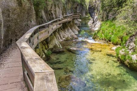 Board walk through Cerrada de Elias gorge in Cazorla National Park Imagens