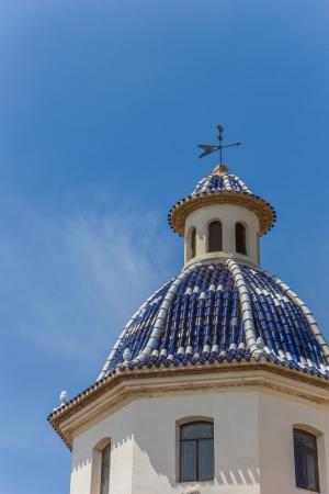 altea: Blue tiled dome of the church of Altea, Spain