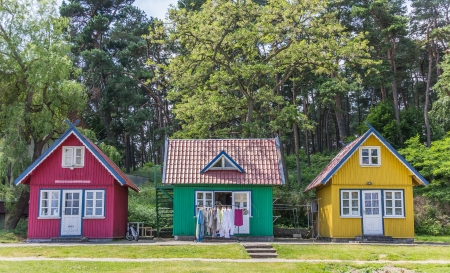 Traditional wooden houses on the peninsula of Curonian Spit, Lithuania Stock Photo