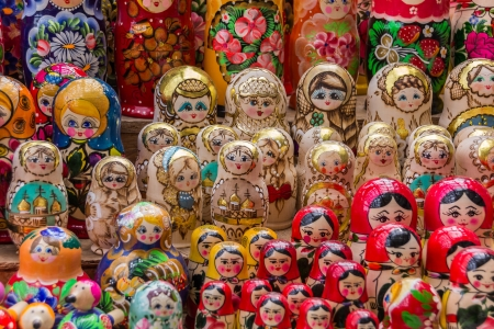 matriosca: Colorful russian wooden dolls at a market in Trakai, Lithuania