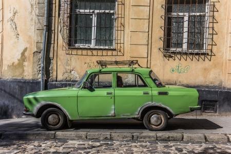 russian car: Old green Russian car in Lviv, Ukraine