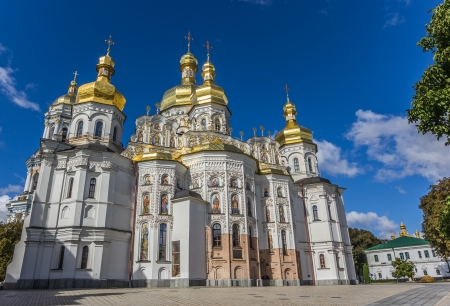 fresco: Cathedral with golden domes in the Kiev Pechersk Lavra, Ukraine
