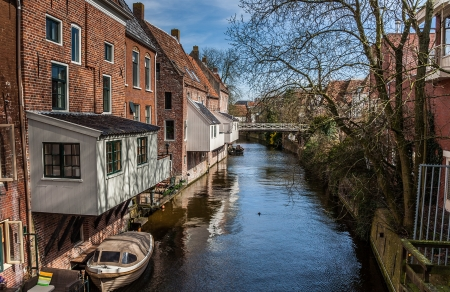 Hanging kitchens in the old center of Appingedam, the Netherlands Imagens