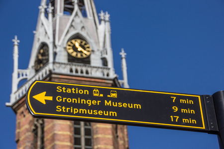 groningen: Tourist sign near the Jozef cathedral in Groningen, Netherlands Stock Photo