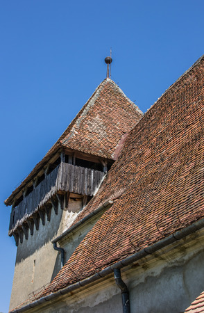 Detail of the fortified church in the town of Copsa Mare, Romania photo