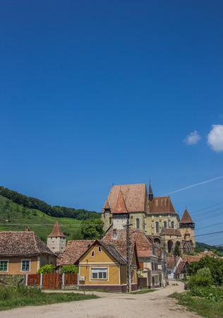 Fortified church in the town of Biertan, Romania photo