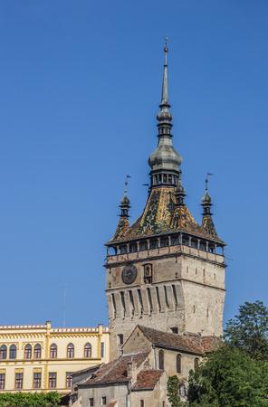 saxon: The clock tower of the citadel in Sighisoara, Romania Stock Photo