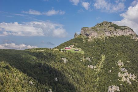 View on the top of the Ceahlau mountain range, Romania photo