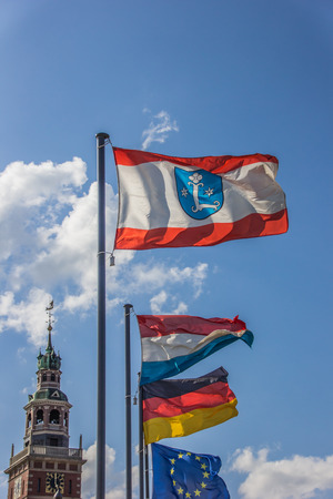 leer: Flags in front of the Rathaus in Leer, Germany